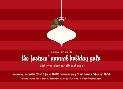 CYO Invitation - Ornament on Red 7x5 Flat Card