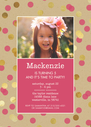 CYO Invitation - Pink and Gold Dots on Kraft 5x7 Flat Card