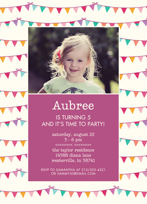 CYO Invitation - Bunting with Pink 5x7 Flat Card
