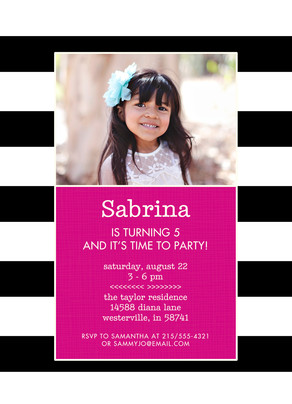CYO Invitation - B&W Stripes 5x7 Flat Card