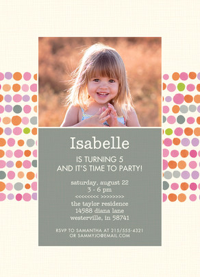 CYO Invitation - Colorful Dots 5x7 Flat Card