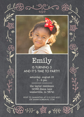 CYO Invitation - Floral on Chalkboard 5x7 Flat Card