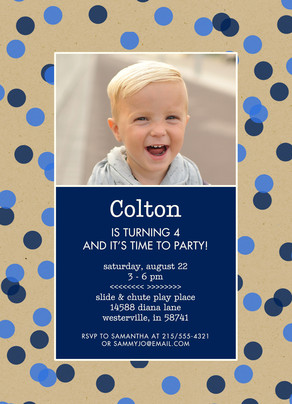CYO Invitation - Blue Dots on Kraft 5x7 Flat Card