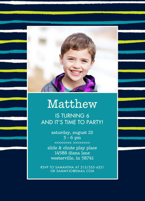 CYO Invitation - Bright Stripes on Blue 5x7 Flat Card