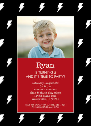 CYO Invitation - Lightning Bolts on Black 5x7 Flat Card