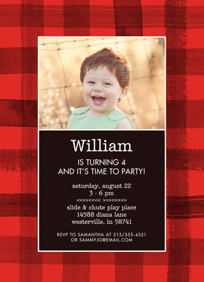 CYO Invitation - Red Plaid 5x7 Flat Card