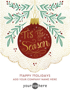 Your Logo with Ornament 5x7 Flat Card