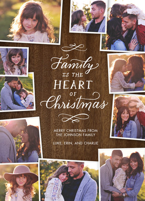 Family Photos on Wood Grain 5x7 Flat Card