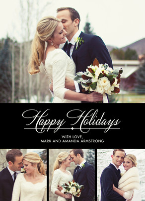 Happy Holidays - B&W Formal 5x7 Flat Card