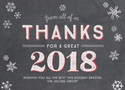 Chalkboard 2018 Thanks 7x5 Flat Card
