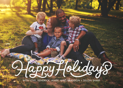 Happy Holidays Script Overlay 7x5 Flat Card