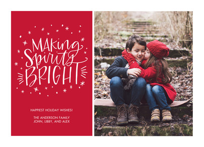 Script and Snowflakes on Red 7x5 Flat Card