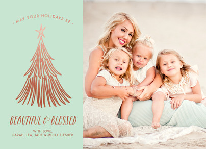beautiful and blessed on mint with rose gold 7x5 Flat Card