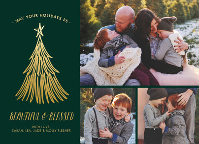 beautiful and blessed on evergreen with gold foil 7x5 Flat Card