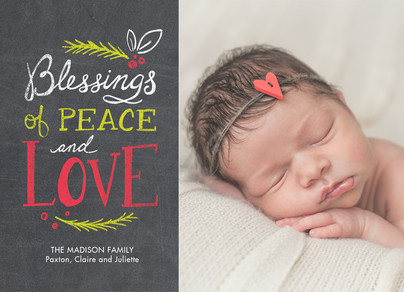 Blessings of Peace - Chalkboard 7x5 Flat Card