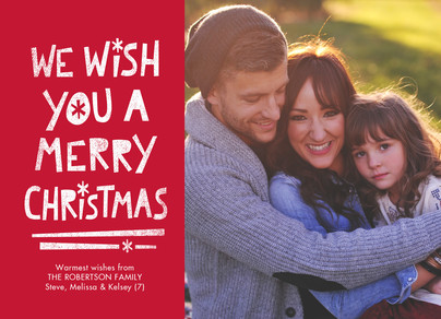 Merry Christmas - White on Red 7x5 Flat Card