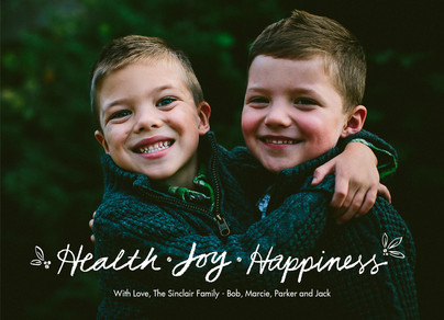 Health Joy Happiness - Chalk Overlay 7x5 Flat Card