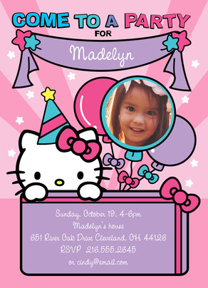 Hello Kitty - Party Invitation 5x7 Flat Card
