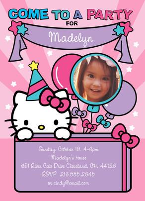 Hello Kitty - Party Invitation 5x7 Flat Card