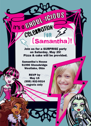 Monster High - Party Invitation 5x7 Flat Card