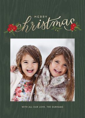 Merry Christmas - Green Wood Grain 5x7 Flat Card