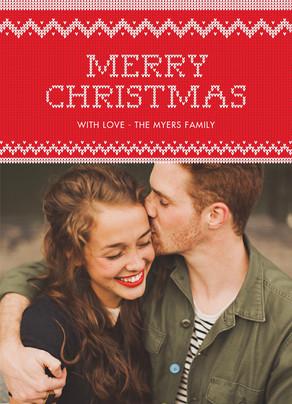 Merry Christmas Cross Stitch 5x7 Flat Card