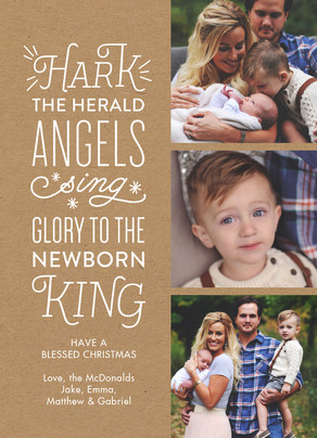 Hark the Herald Angels - Kraft 5x7 Flat Card