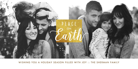 Peace on Earth - Gold Stamp 8x4 Flat Card