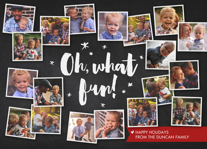 Oh, What Fun! Photo Collage 7x5 Flat Card