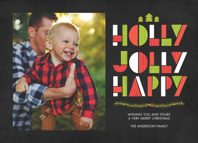 Holly Jolly Happy 7x5 Flat Card