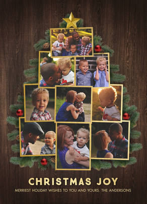 Photo Collage Christmas Tree 5x7 Flat Card