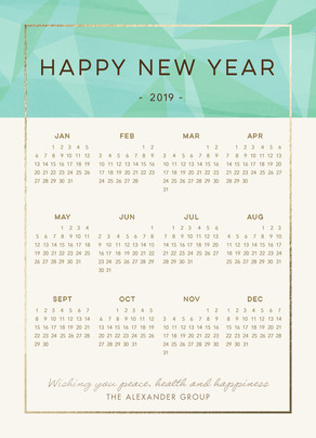 New Year Calendar - 2016 5x7 Flat Card