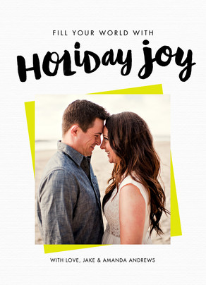 Brush Script Holiday Joy 5x7 Flat Card
