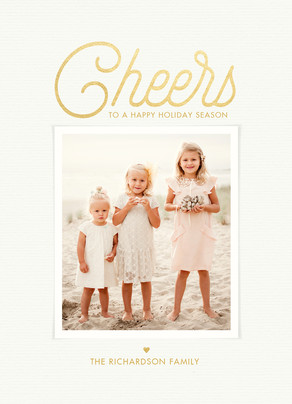 Cheerful Golden Holiday 5x7 Flat Card
