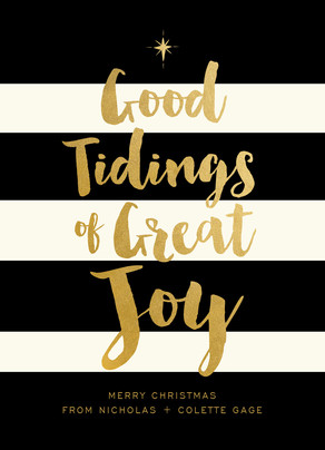 Good Tidings on Black & White Stripes - No Photo 5x7 Flat Card