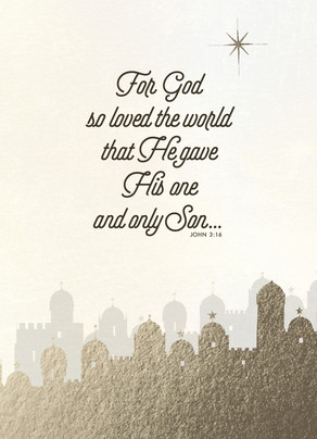 John 3:16 - Gold Foil - No Photo Christmas Card | Cardstore