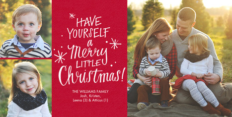 A Merry Little Christmas on Red 8x4 Flat Card