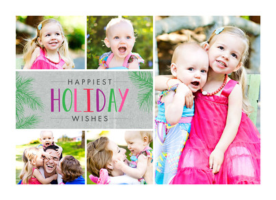 Holiday Wishes - 5 Photos and Pine Needles 7x5 Postcard