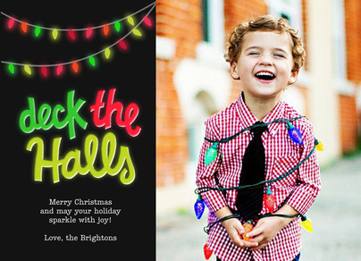 Deck the Halls with Colorful Lights 7x5 Postcard