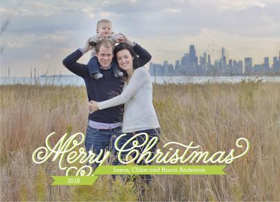 Merry Christmas Green Ribbon Overlay 7x5 Postcard