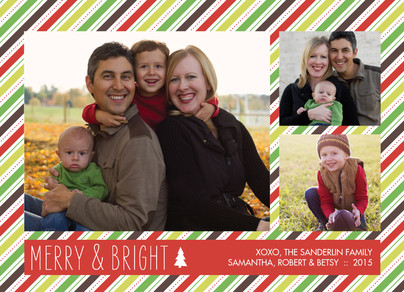Merry and Bright Stripes 7x5 Postcard