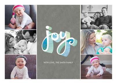 6 Photos with Joy Lettering 7x5 Postcard