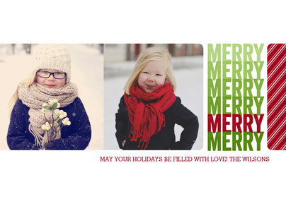 Merry with 2 Photos 7x5 Postcard