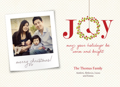 Joy Holiday Wreath 7x5 Postcard