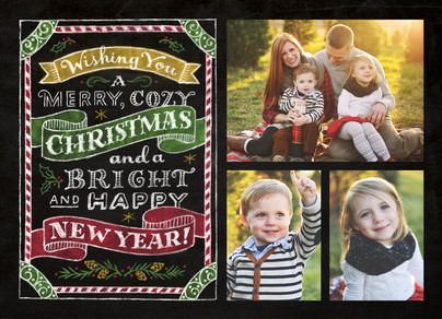 Merry Cozy Chalkboard 7x5 Flat Card