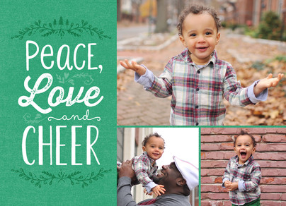 Peace, Love, Cheer on Green 7x5 Flat Card