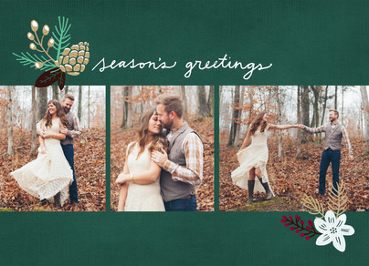 Season's Greetings with Pine Cone 7x5 Flat Card
