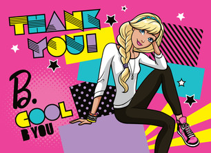 Barbie - Thank You with Stars 5.25x3.75 Folded Card