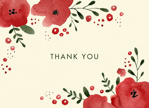 Thank You - Watercolor Floral 5.25x3.75 Folded Card