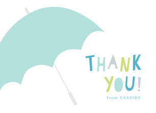 Thank You - Blue Umbrella 5.25x3.75 Folded Card